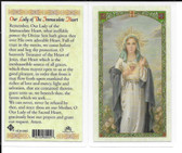 Laminated Prayer Card of Our Lady of the Immaculate Heart.