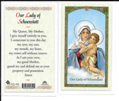 "Laminated Prayer Card ""Our Lady of Schoenstatt""."