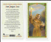 "Laminated Prayer Card ""St. Junipero Serra""."