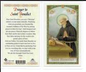 "Laminated Prayer Card to ""St. Benedict""."