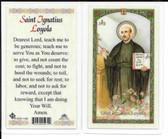 "Laminated Prayer Card ""Saint Ignatius of Loyola""."