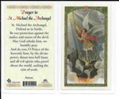"Laminated Prayer Card ""Prayer to Saint Michael the Archangel""."