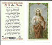 "Laminated Prayer Card ""My life is but a Weaving""."