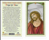 "Laminated Prayer Card ""Prayer for Peace""."