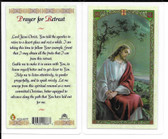 "Laminated Prayer Card ""Prayer for Retreat""."