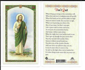"Laminated Prayer Card ""Don't Quit""."