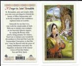 "Laminated Prayer Card by ""St. Bernadette""."