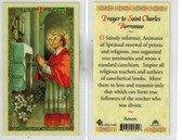 "Laminated Prayer Card to ""St. Charles Borromeo""."