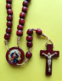 Mary, Undoer of Knots Wooden Rosary with Mary, Undoer of Knots, Centerpiece