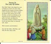 """50 cent Prayer Cards """"Novena To Our Lady Of Fatima Prayer"""""""