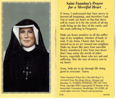 Saint Faustina's Prayer for Merciful Heart Prayer Card