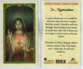 In Appreciation Laminated Holy Card Featuring Sacred Heart of Jesus