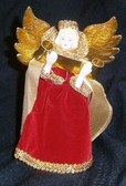 Small Red Velvet and Gold Angel Tree Topper or Ornament with Scroll and Crown