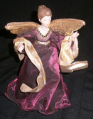 Regal Purple Gown and Gold Tree Top or Table Top Angel