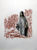 Jesus Healing the Sick, Original Print by Tvrtko Klobucar, Canadian artist