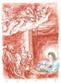The Nativity, Original Print by Tvrtko Klobucar, Canadian artist.