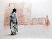 Jesus Leaves the Temple, Original Print by Tvrtko Klobucar, Canadian artist.