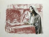 Jesus in the Temple, Original Print by Tvrtko Klobucar, Canadian artist.
