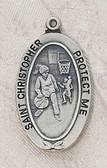 Saint Christopher Girl Basketball Medal On Chain