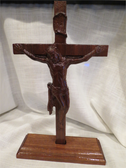 Unique Hand Crafted Solid Walnut Crucifix with Stand CF129