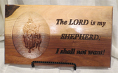 "Hand Crafted 8""x14"" Lord is my Shepherd In  Rustic Walnut"