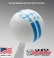 White / Grabber Blue Rally Stripe Shift Knob
