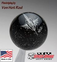Transparent Black Metalflake Pinstriped Spider Web Shift Knob by Von Hot Rod