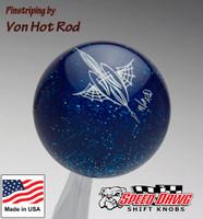Transparent Blue Metalflake Pinstriped Spider Web Shift Knob by Von Hot Rod