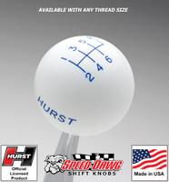 Hurst White w Blue 6 Speed Shift Knob - Small