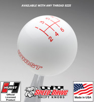 Hurst White w Red 6 Speed Shift Knob - Large