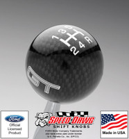 Mustang GT Black Carbon Fiber Finish Shift Knob w White 5 Speed Pattern