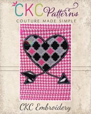 Heart Arrow Machine Embroidery Design