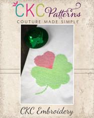 Shamrock Heart Leaf Cross Stitch Embroidery Design