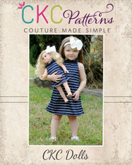Nora's Dolls Ruffled Neck A-line Top, Tunic, and Dress PDF Pattern