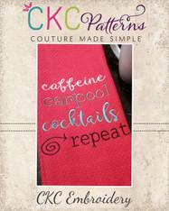 Caffeine Carpool Cocktails Embroidery Design