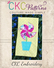 Pinwheel Flowerpot Applique Embroidery Design