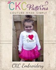 I Heart Dance Embroidery Design
