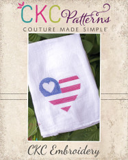 Heart Flag Cross Stitch Embroidery Design