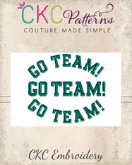 """Go Team"" Embroidery Design"