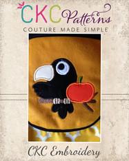 Crow Pumpkin Applique Embroidery Design