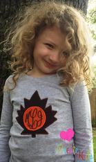 Monogram Leaf Applique Embroidery Design