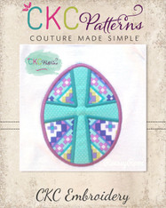 Easter Egg Cross Applique Embroidery Design