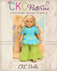 Kayla's Knit Ruffle Top and Jessica's Knit Pants Doll Size PDF Pattern