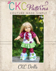 Leah's Knit Ruffle Top & Kelsey's Ruffled Leggings Doll Size PDF Pattern