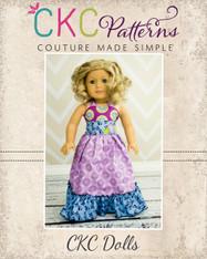 Peony's Sweetheart Maxi Dress Doll Size PDF Pattern