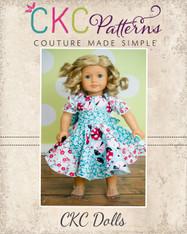 Violette's Swirly Peasant Dress Doll Size PDF Pattern