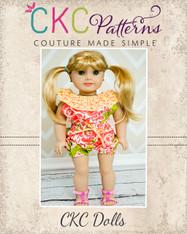 Whitney's Ruffle Neck Romper Doll Size PDF Pattern