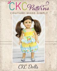 Lily's Lovely Apron Romper Doll Size PDF Pattern