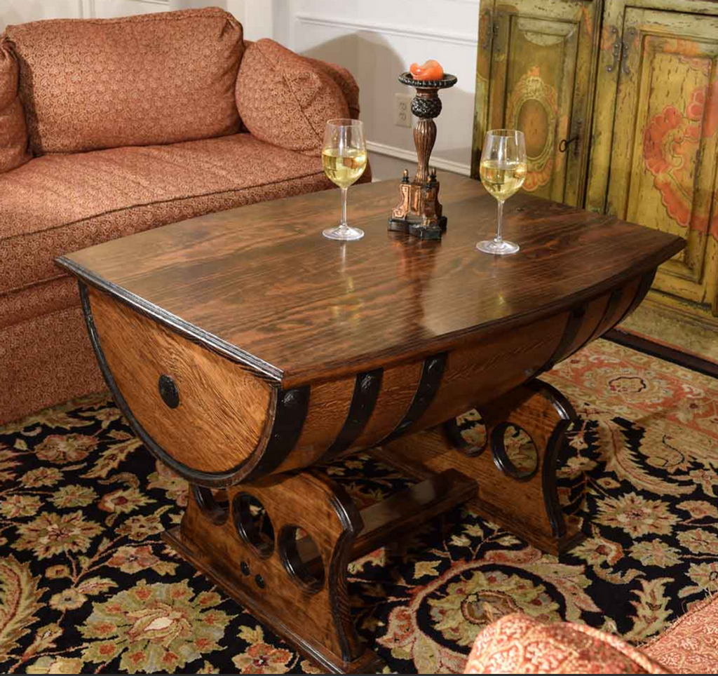 ... Reclaimed Whiskey Barrel Table With Solid Top ...