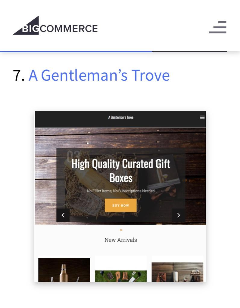 BigCommerce ranks us 7th on Best Gift Websites of 2017